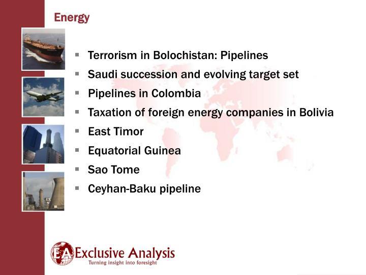 Terrorism in Bolochistan: Pipelines