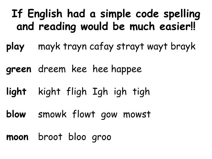 If English had a simple code spelling and reading would be much easier!!