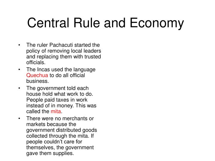 Central Rule and Economy