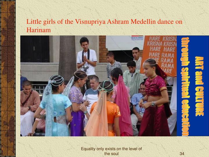 Little girls of the Visnupriya Ashram Medellin dance on Harinam