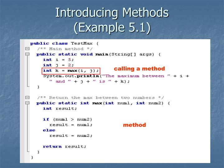 Introducing methods example 5 1
