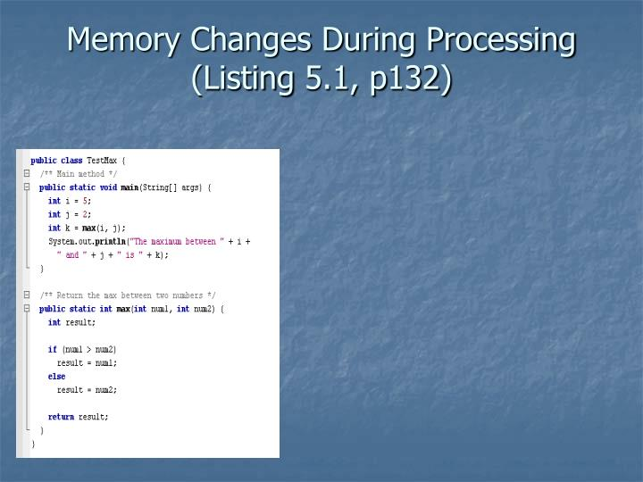 Memory Changes During Processing