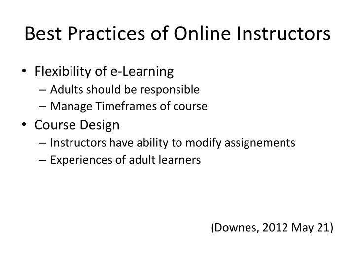 Best Practices of Online Instructors