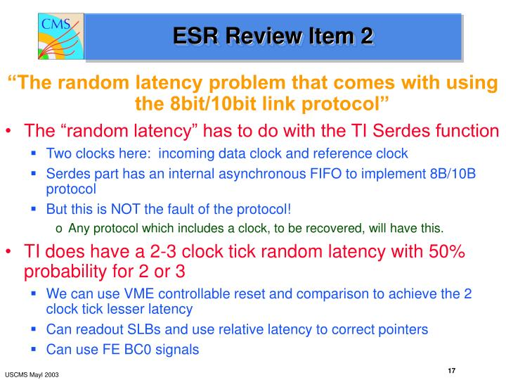 ESR Review Item 2