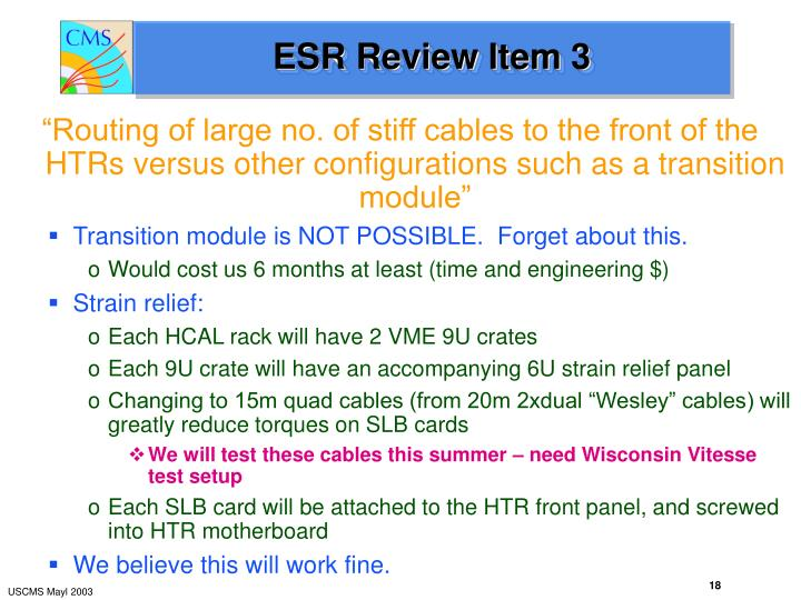 ESR Review Item 3