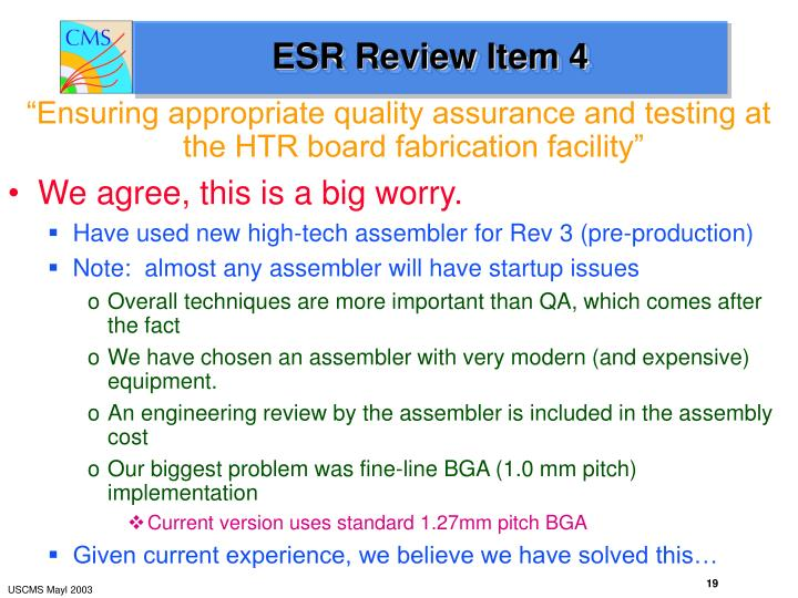 ESR Review Item 4