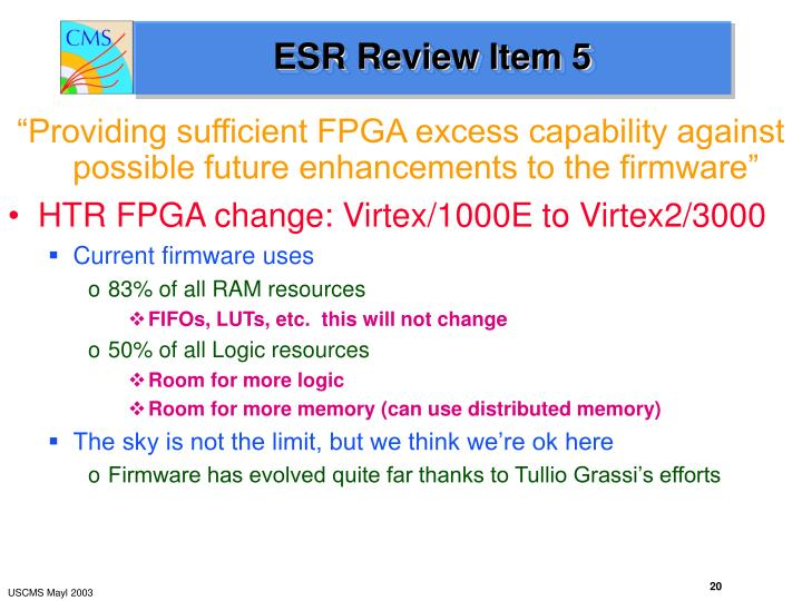 ESR Review Item 5