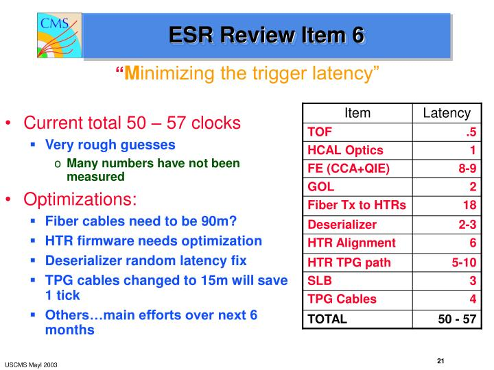ESR Review Item 6