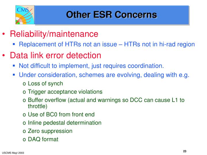 Other ESR Concerns