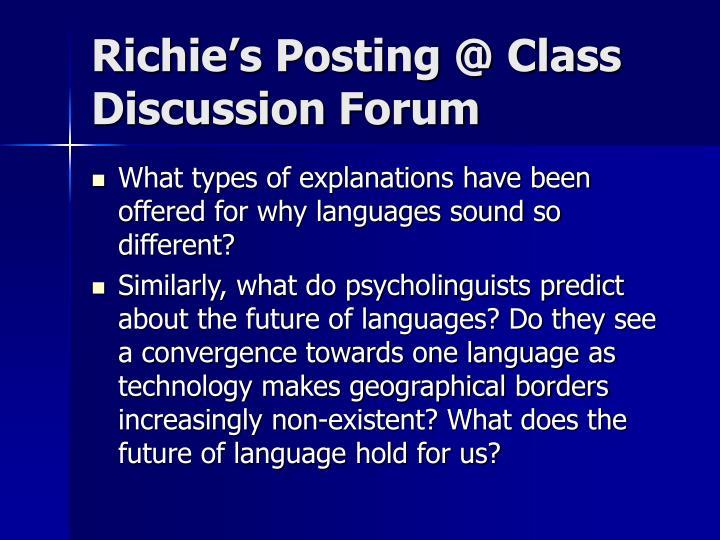 Richie's Posting @ Class Discussion Forum