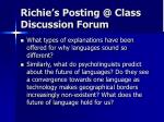 richie s posting @ class discussion forum