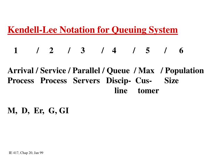 Kendell-Lee Notation for Queuing System