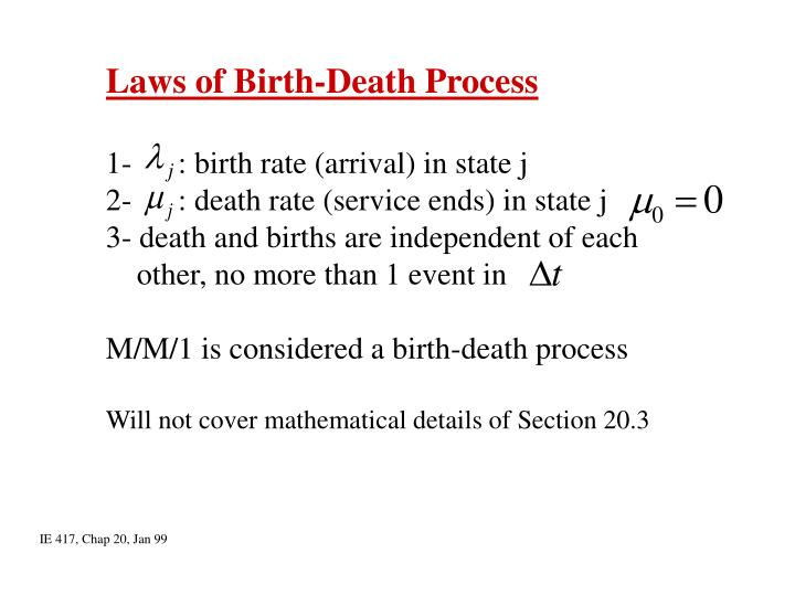 Laws of Birth-Death Process