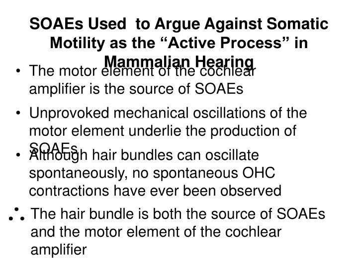 The hair bundle is both the source of SOAEs and the motor element of the cochlear amplifier