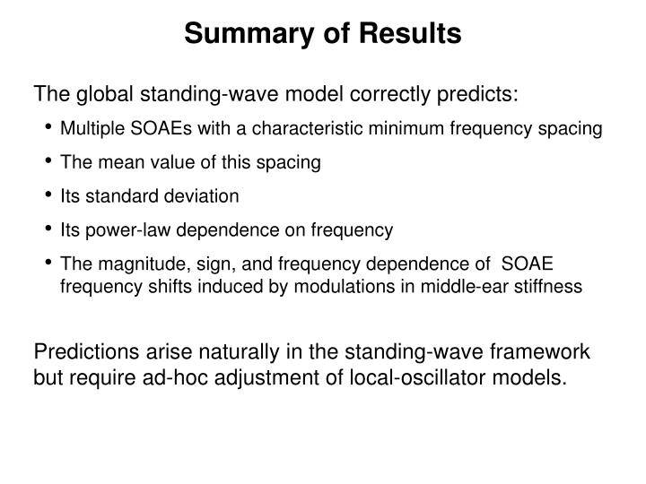 The global standing-wave model correctly predicts:
