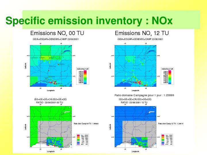 Specific emission inventory : NOx