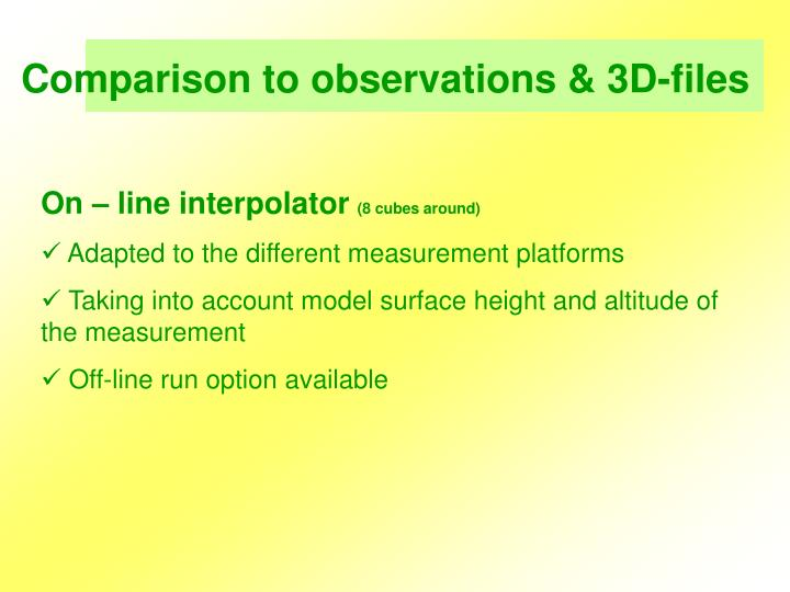 Comparison to observations & 3D-files