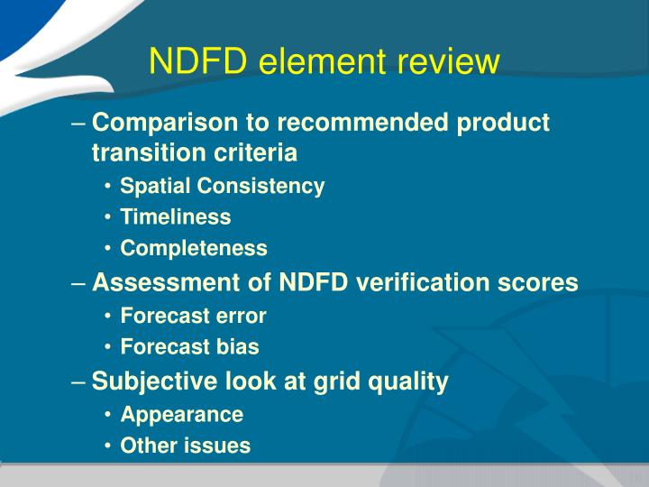 NDFD element review