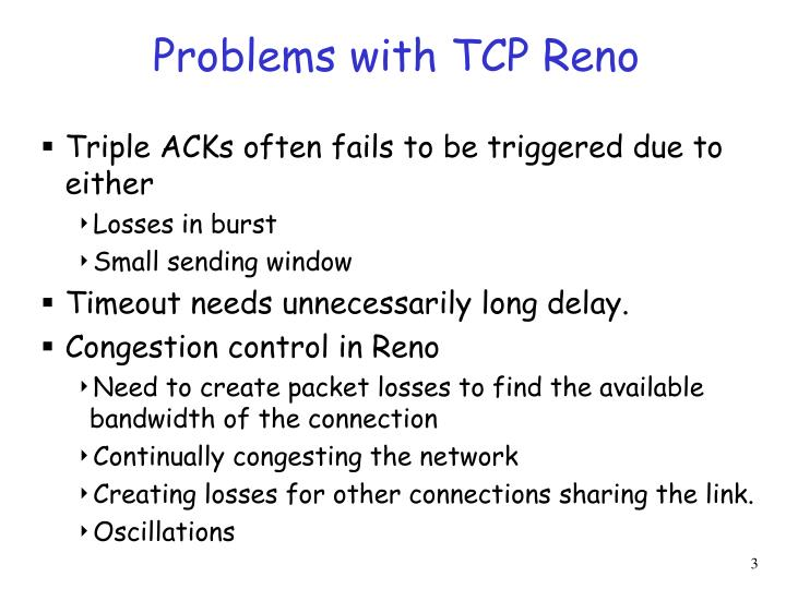Problems with TCP Reno