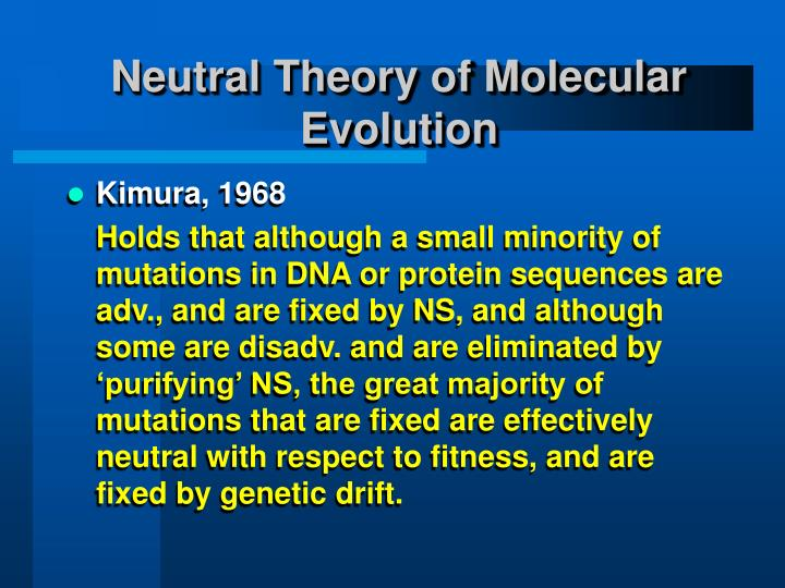Neutral theory of molecular evolution