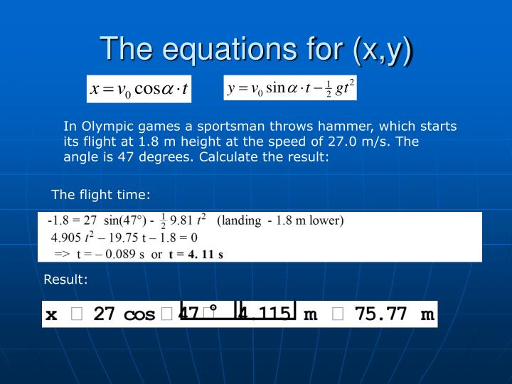 The equations for (x,y)
