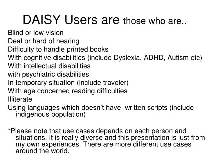 DAISY Users are