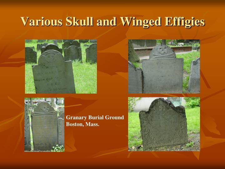Various Skull and Winged Effigies