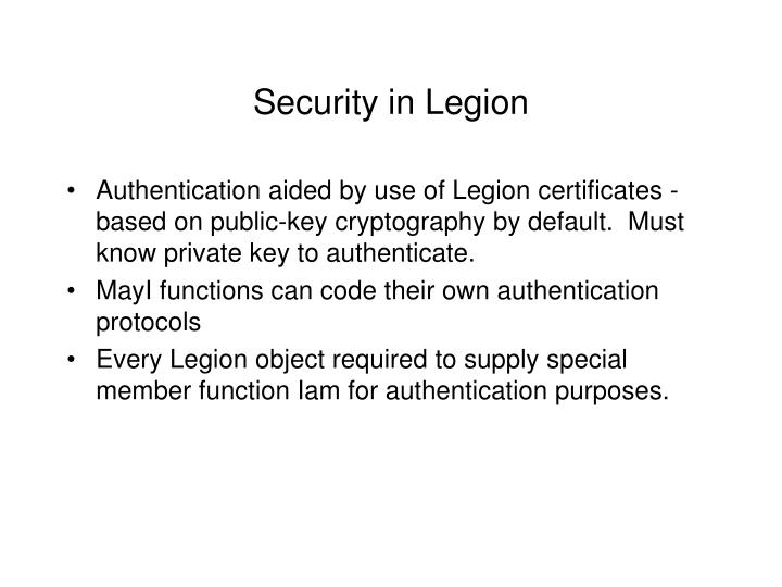 Security in Legion