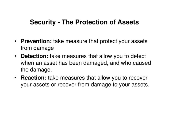 Security - The Protection of Assets