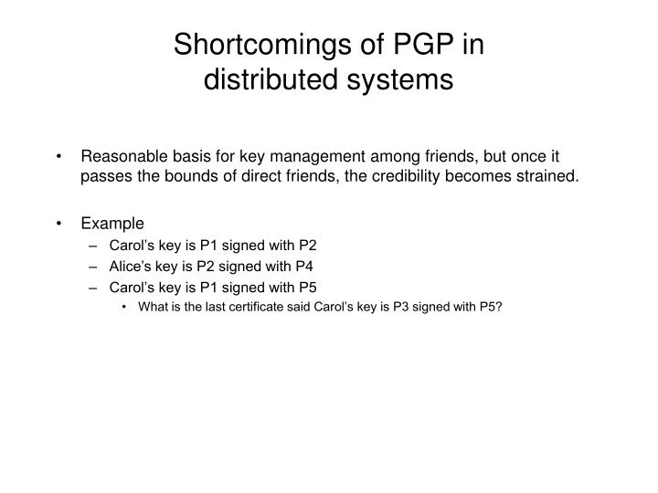 Shortcomings of PGP in
