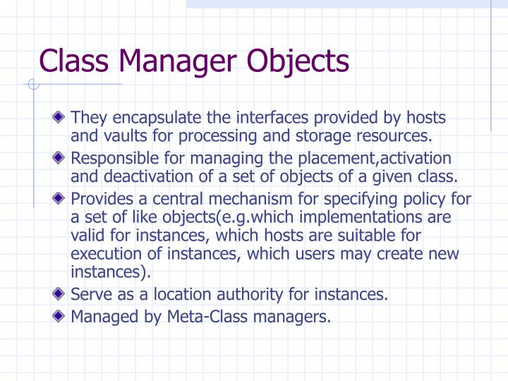 Class Manager Objects