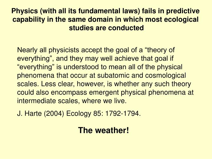 Physics (with all its fundamental laws) fails in predictive