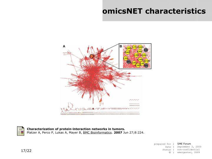 omicsNET characteristics