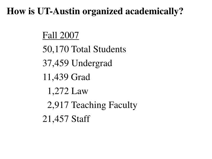 How is UT-Austin organized academically?