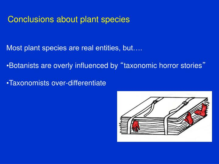 Conclusions about plant species