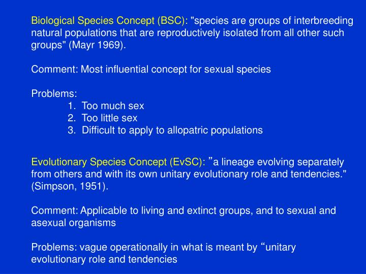 Biological Species Concept (BSC):