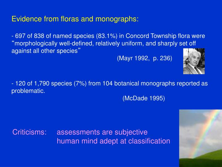 Evidence from floras and monographs: