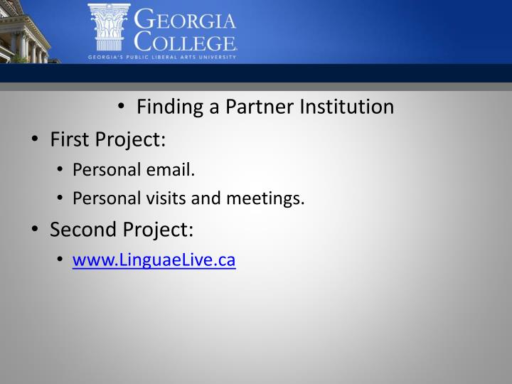 Finding a Partner Institution