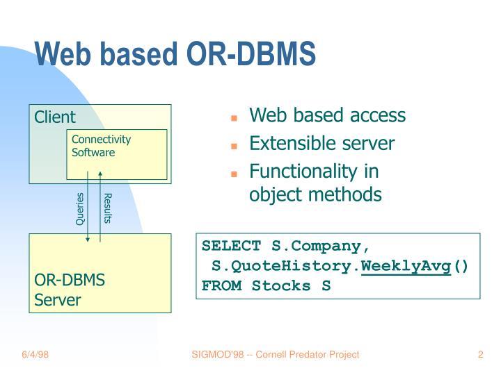 Web based OR-DBMS