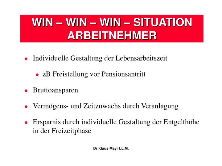 WIN – WIN – WIN – SITUATION
