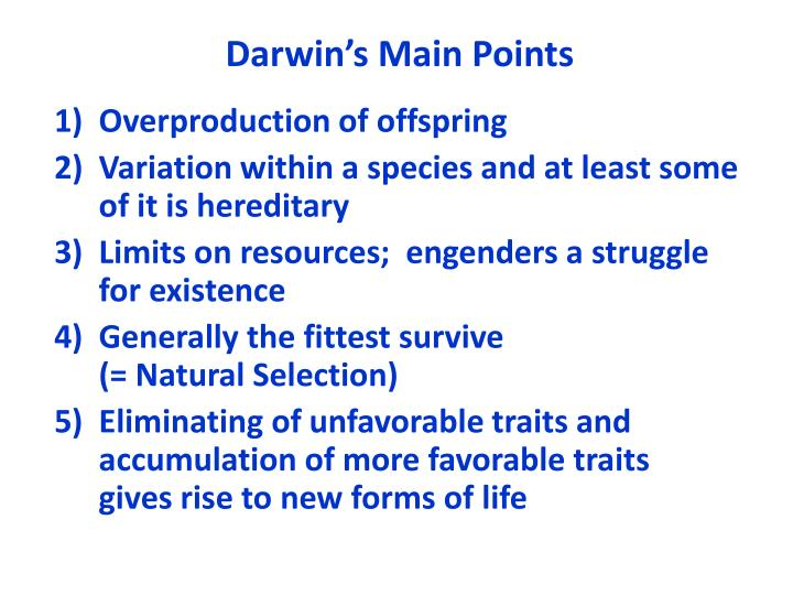 Darwin's Main Points