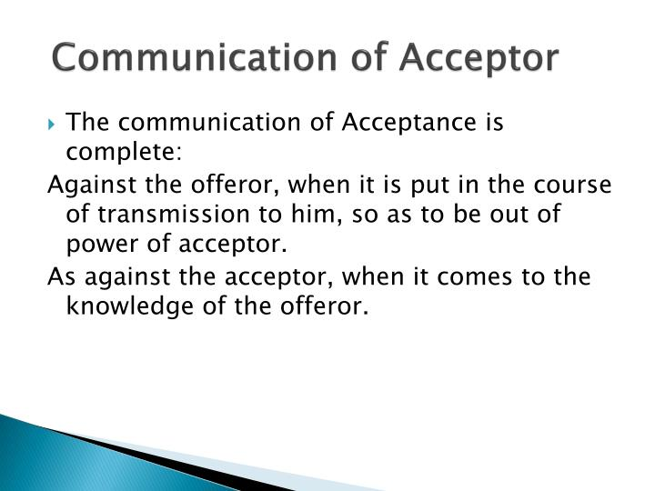 Communication of Acceptor