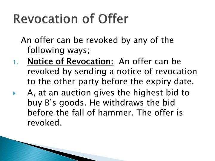 Revocation of Offer