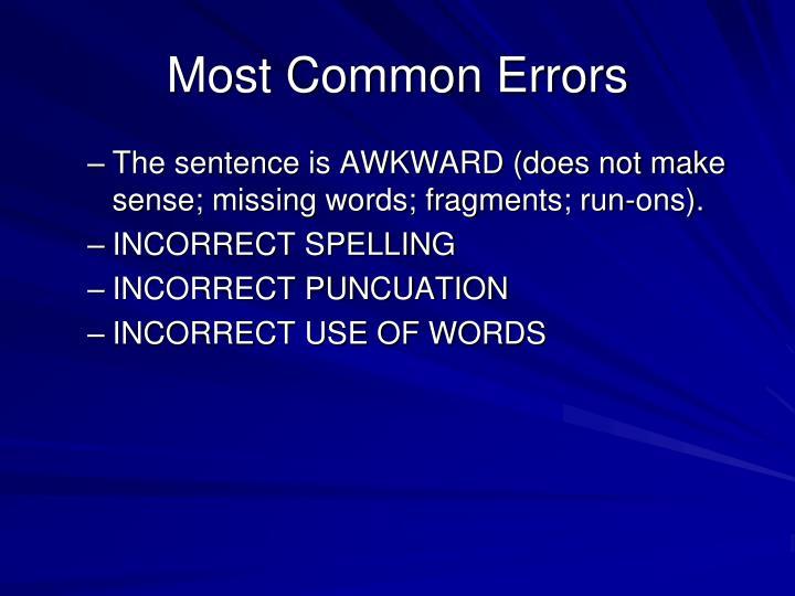 Most Common Errors