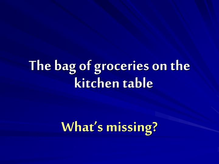 The bag of groceries on the kitchen table
