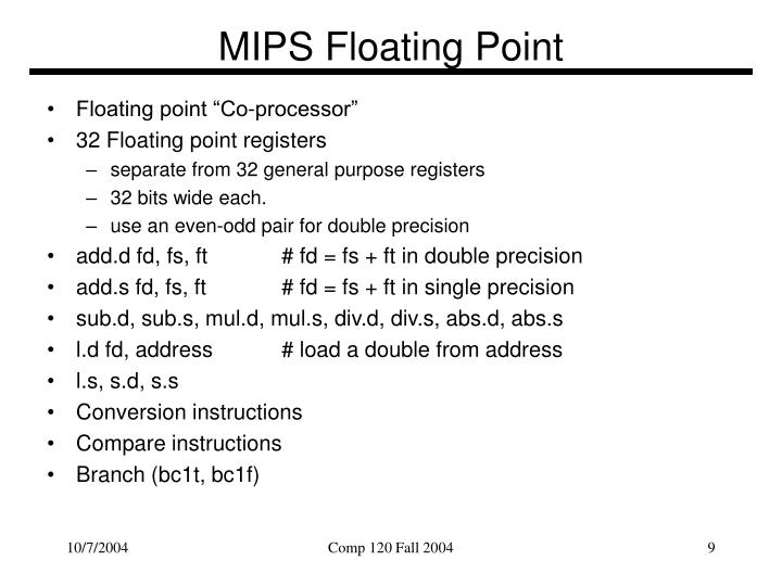 MIPS Floating Point