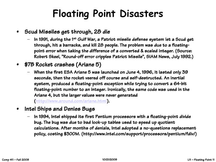 Floating Point Disasters
