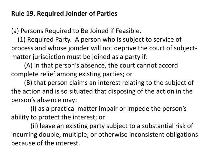 Rule 19. Required Joinder of Parties