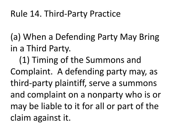 Rule 14. Third-Party Practice
