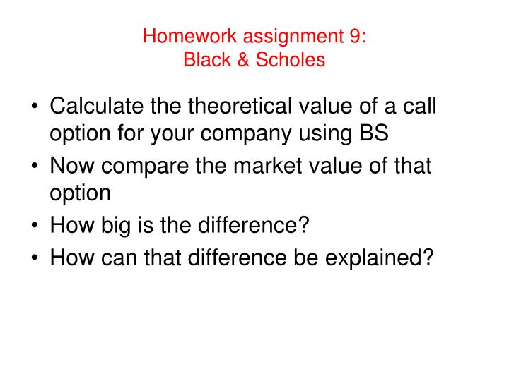 Homework assignment 9: